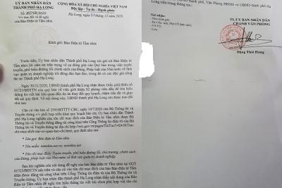 """Hạ Long, Quảng Ninh: Khi cơ quan công quyền không hiểu luật, """"bịt miệng"""" Báo chí bằng """"tôn chỉ, mục đích"""""""