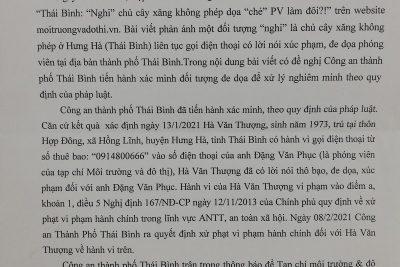 """Thái Bình: Xử phạt đối tượng dọa """"chẻ"""" PV làm đôi"""