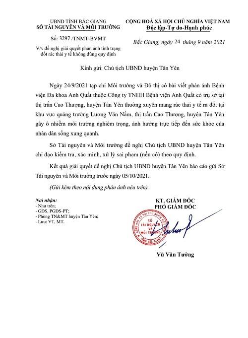 Bắc Giang: Kiểm tra và xử lý Bệnh viện Anh Quất vi phạm đốt rác thải y tế nơi công cộng